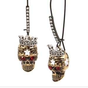 Betsey Johnson crowned scull red gem eye NWT